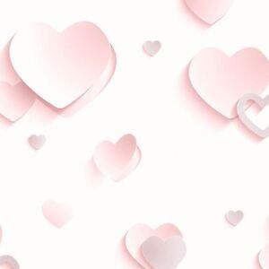 Tapete-Muriva-3D-Luxus-Glitzer-Metallisch-Hearts-pink-Maedchen-Zimmer