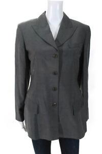 Emanuel-Emanuel-Ungaro-Womens-Three-Button-Pointed-Lapel-Blazer-Gray-Wool-Size-6