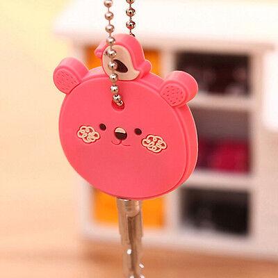 Popular Korea Cute Animal Soft Key Top Head Cover Chain Cap Keyring Phone Strap