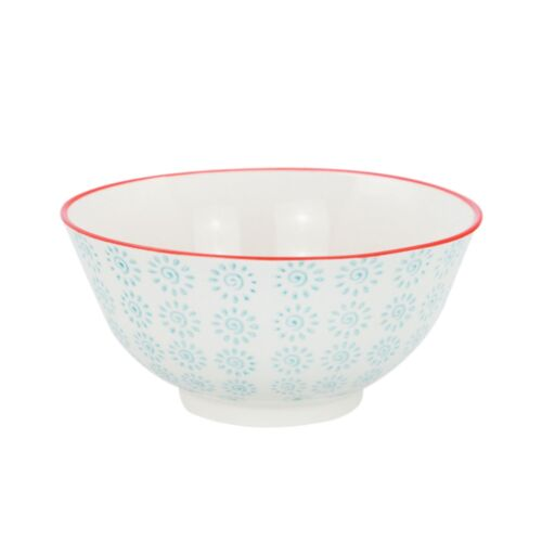 Patterned Cereal Bowls Breakfast Kitchen Bowl Turquoise Red Swirl 152mm x1