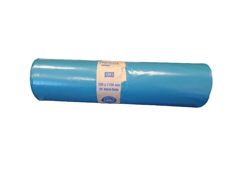Müllsäcke Mülltüten Müllbeutel blau gerollt 120 l 70x110 cm 55 my (112073)