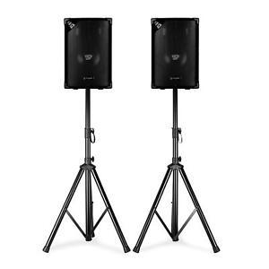 PA-DJ-Boxen-Paar-Buehnen-Disco-Passiv-Lautsprecher-Sound-System-Subwoofer-Stativ
