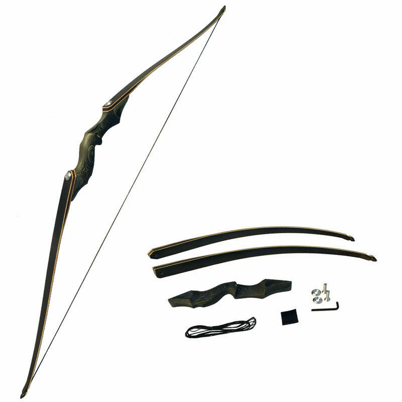30-60lbs Archery Recurve Bow Takedown Right Hand Laminated Longbow Shooting