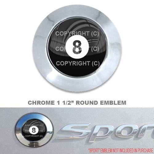 "8 POOL BALL Chrome 1 1//2/"" Round Adhesive Emblem Car Truck SUV Motorcycle"