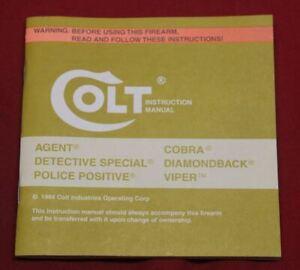 COLT Firearms Factory Diamondback / Detective Special Manual Original 1984