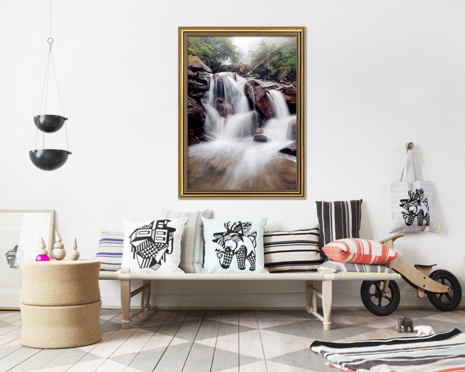 3D Fog Forest Creek 3 Framed Poster Home Decor Print Painting Art AJ WALLPAPER