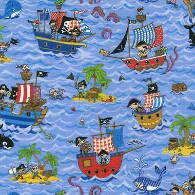 Treasure Island Pirate Ships 100% Cotton Fabric by Nutex  FQ