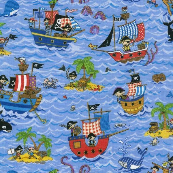 Treasure Island Pirate Ships 100% Cotton Fabric by Nutex  FQ