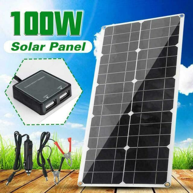 Controller 100W 18V Dual USB Flexible Solar Panel Battery Charger Kit Car Boat