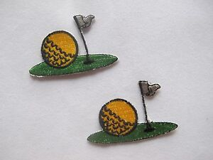2716-Lot-2Pcs-Golf-Ball-Grass-Flag-Embroidery-Iron-On-Applique-Patch