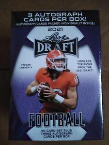 2021 Leaf Draft Football SEALED Hobby Blaster BOX (3 Autos) Trevor Lawrence