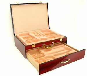 Venezia-Collection-Flatware-Chest-2-Drawer-Premium-Wood-Box-Case-w-Felt-Trays