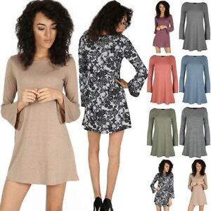 Femmes-Mini-Robe-Droite-Femmes-Annees-70-Evase-Manchon-De-Bell-Pull-Tricot