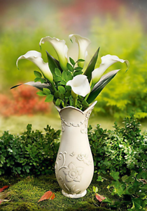 Grabvase Grabdeko Vase Grab Engel Friedhof Grabschmuck creme Kunststein Erdspieß