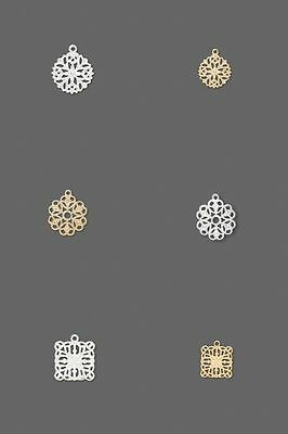 20 Silver Gold Fancy Filigree Snowflake Flower Square Bead Drop Charms Dangles