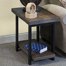 "Alaterre Pomona End Table with Shelf Rustic Natural 27""W x 17""D x 27""H AMBA0120"