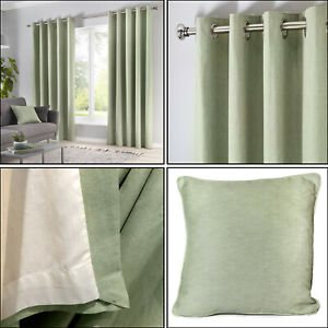 Duck Egg Blue Eyelet Curtains 100/% Cotton Plain Lined Ring Top Curtains Pair
