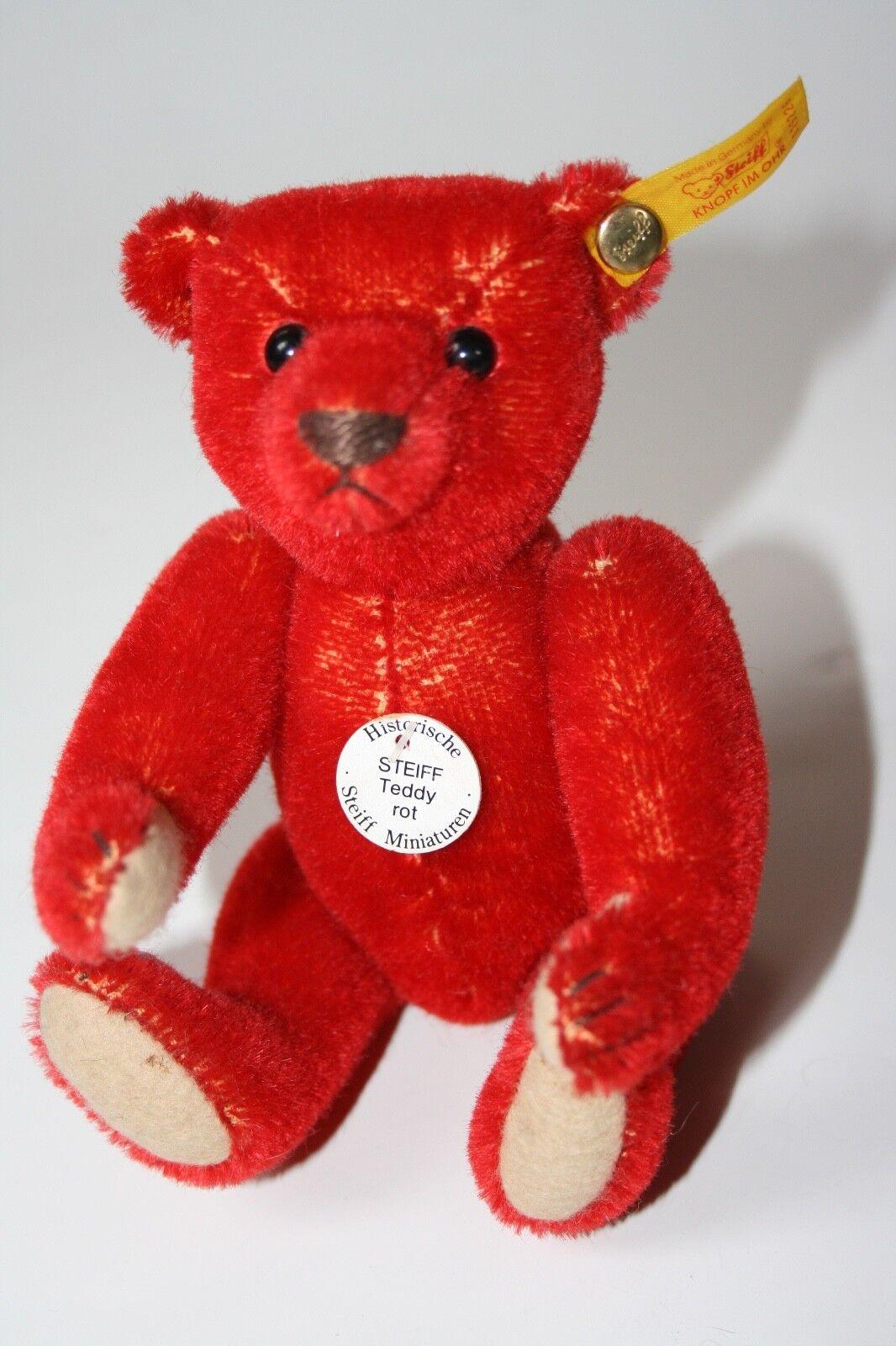 Steiff Teddybär rot, 16 cm,  029226,  Historische Miniaturen, mit KFS