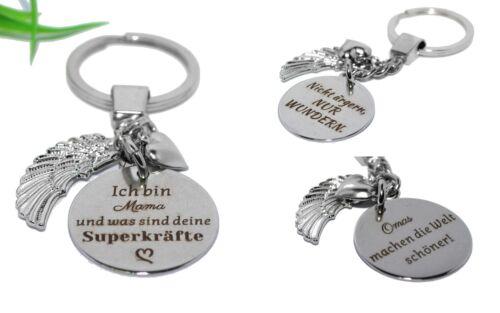 SCHLÜSSELANHÄNGER Schlüsselring Herz Engelsflügel wing Spruch silber + AUSWAHL