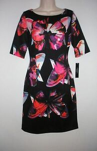 NWT-MSRP-134-TAHARI-by-ASL-Women-039-s-Stella-Sheath-Dress-Black-Multi-Size-10