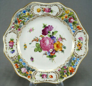 Carl Thieme Dresden Hand Painted Floral & Gold Reticulated Luncheon Plate F