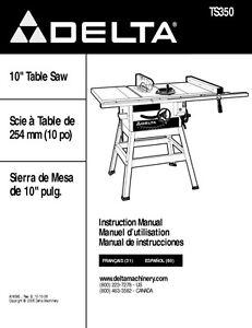delta ts350 10 table saw instruction manual ebay rh ebay com 9 Delta Table Saw Delta 10 Table Saw