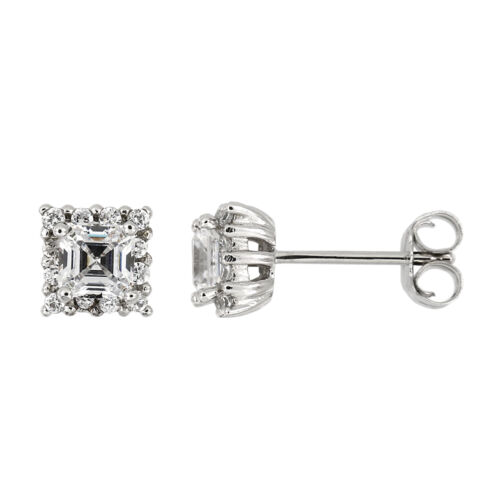 Silver Halo Style Asscher Cut with Round Side Cubic Zirconia Earrings