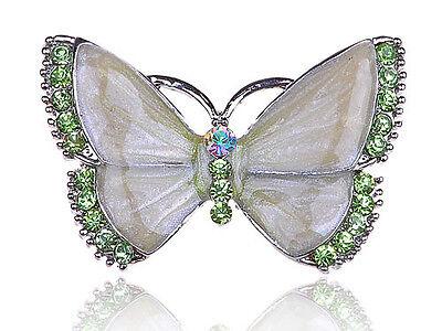 Fashion Green Crystal Rhinestone Peridot Enamel Butterfly Jewel Pin Brooch B0113