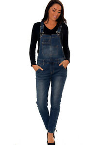 Womens Boyfriend Denim Overall Dungarees Stretchable Jeans Zl077