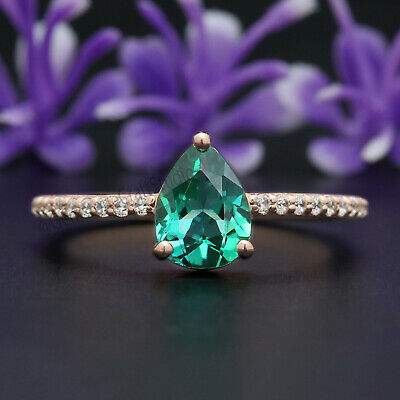 Green Emerald Round Stone Ring 14K Solid Rose Yellow White Gold Sterling Silver Engagement Wedding Gift Ring GR413