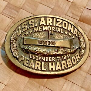 GREAT-AMERICAN-BELT-BUCKLE-USS-ARIZONA-PEARL-HARBOR-LTD-ED-BUCKLE-SERIAL-832