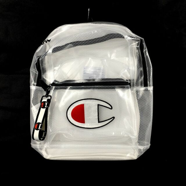 Champion White Supercize Clear Backpack Transparent Embroidered Logo For Sale Online Ebay