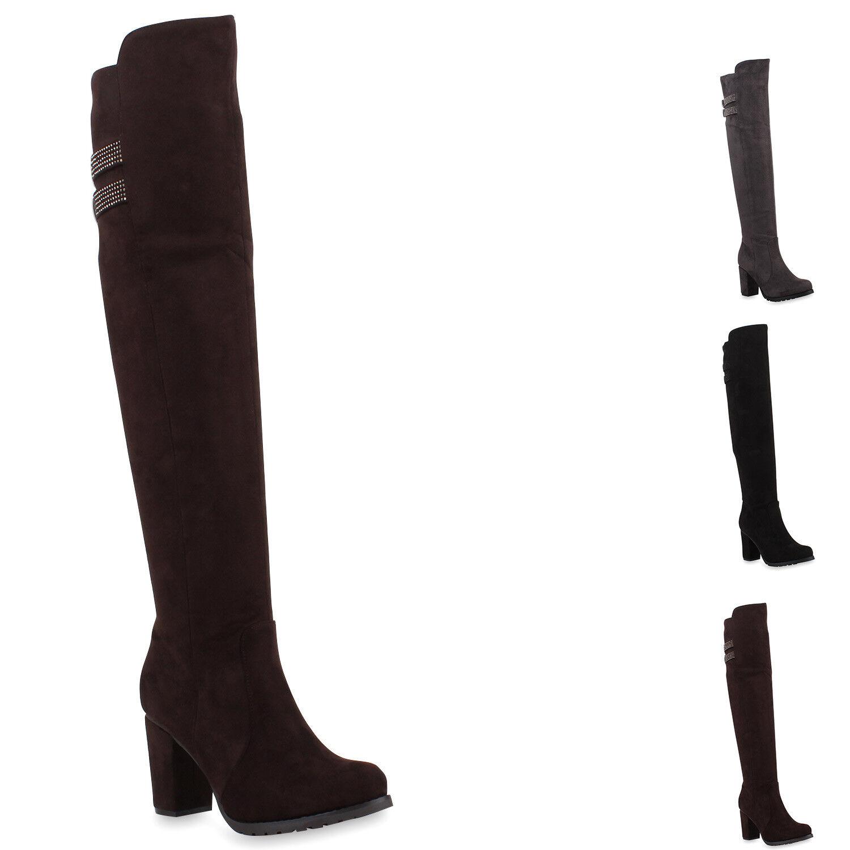Damen Stiefel Overknees Blockabsatz Boots Wildlederoptik 77891 New Look