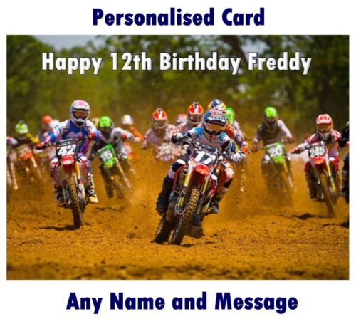 Personalised MOTOCROSS moto dirt bike BIRTHDAY or Christmas CARD any name age