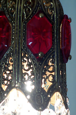 1o4 Ruby jeweled Tulip filigree Icicle Crystal SWAG lamp Vintage chandelier