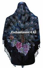 New Stunning Beaded Triangular 100% Silk Velvet Peacock Scarf Shawl Wrap, Black