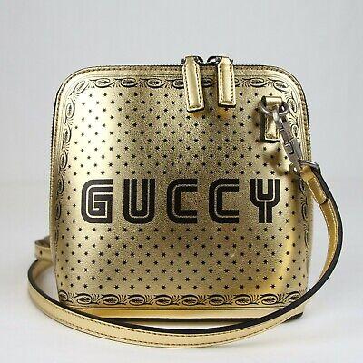 $1790 Gucci Gold Guccy Sega Script Dome