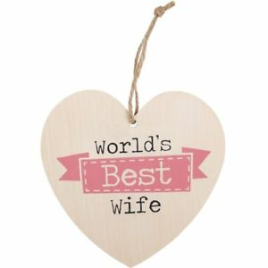 Worlds-Best-Wife-Love-Heart-Wood-Sign-Wall-Anniversary-Wedding-Romantic-Gift