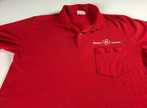 GE-Medical-Systems-Polo-Shirt-VTG-Mens-SZ-S-L-Stedman-USA-Made-Red-Front-Pocket