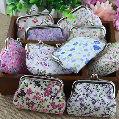 Cute Women Multicolor Cotton Fabric Hasp Coin Bags Floral Printed Coin Purses