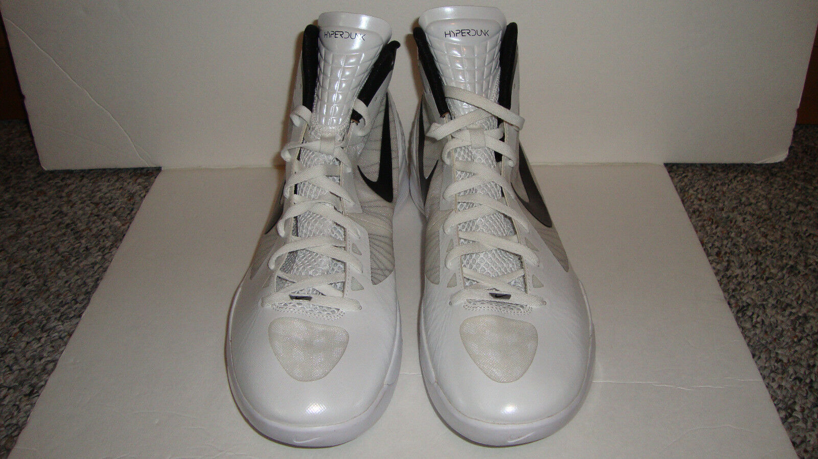 RARE PROMO PROMO RARE NIKE ZOOM HYPERDUNK 2011 454138-888 White/Black-Met Silver  SIZE 17 31e11c