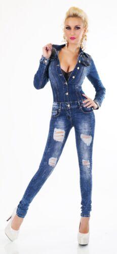 Skinny Pants Jumpsuit manches à Denim Tube Jeans Cassé Fissures Jumpsuit longues Détruit OqI0p4pt