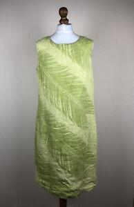 Marimekko Mika Piirainen Womens Linen Green Leaves Sleeveless Dress Size 44 16 L