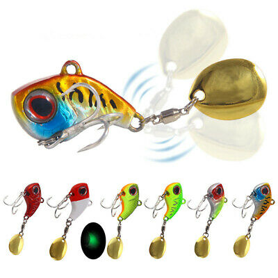 Rotating Metal Spoon Fishing Lure Trout Bass Tackle VIB Hook Spinner Jigging
