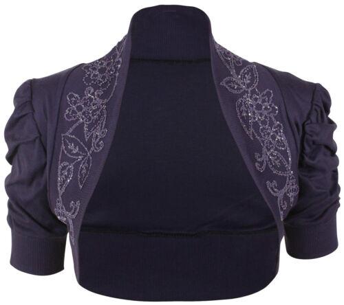 Ladies Plus Size Puff Sleeve Beaded Rouched Sleeve Bolero Shrug Cardigan 16-26