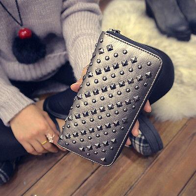 Women Punk Leather Rivet Clutch Wallet Money Card Holder Long Coin Purse Handbag