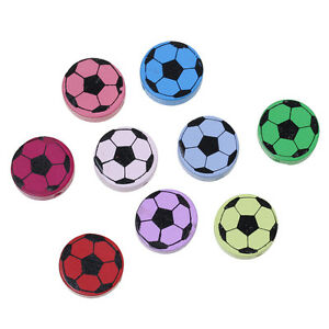 5-perles-Ronde-en-bois-20mm-couleur-mixte-Ballon-de-Football-Attache-tetine-Foot