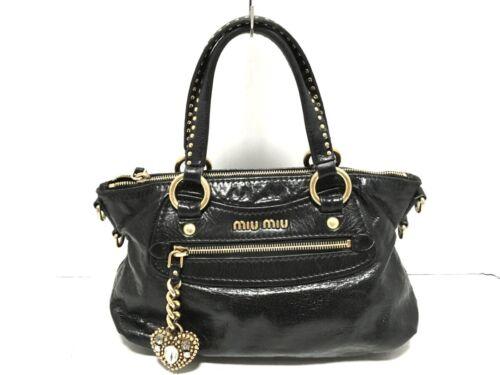 Auth miumiu Black Leather Handbag