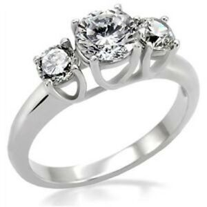 Classic-3-Round-Cut-CZ-Womens-Bridal-Wedding-Anniversary-Stainless-Steel-Ring