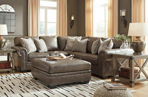 Details about NEW Traditional Sectional Living Room Taupe Brown Leather  Sofa Couch Set IG2O